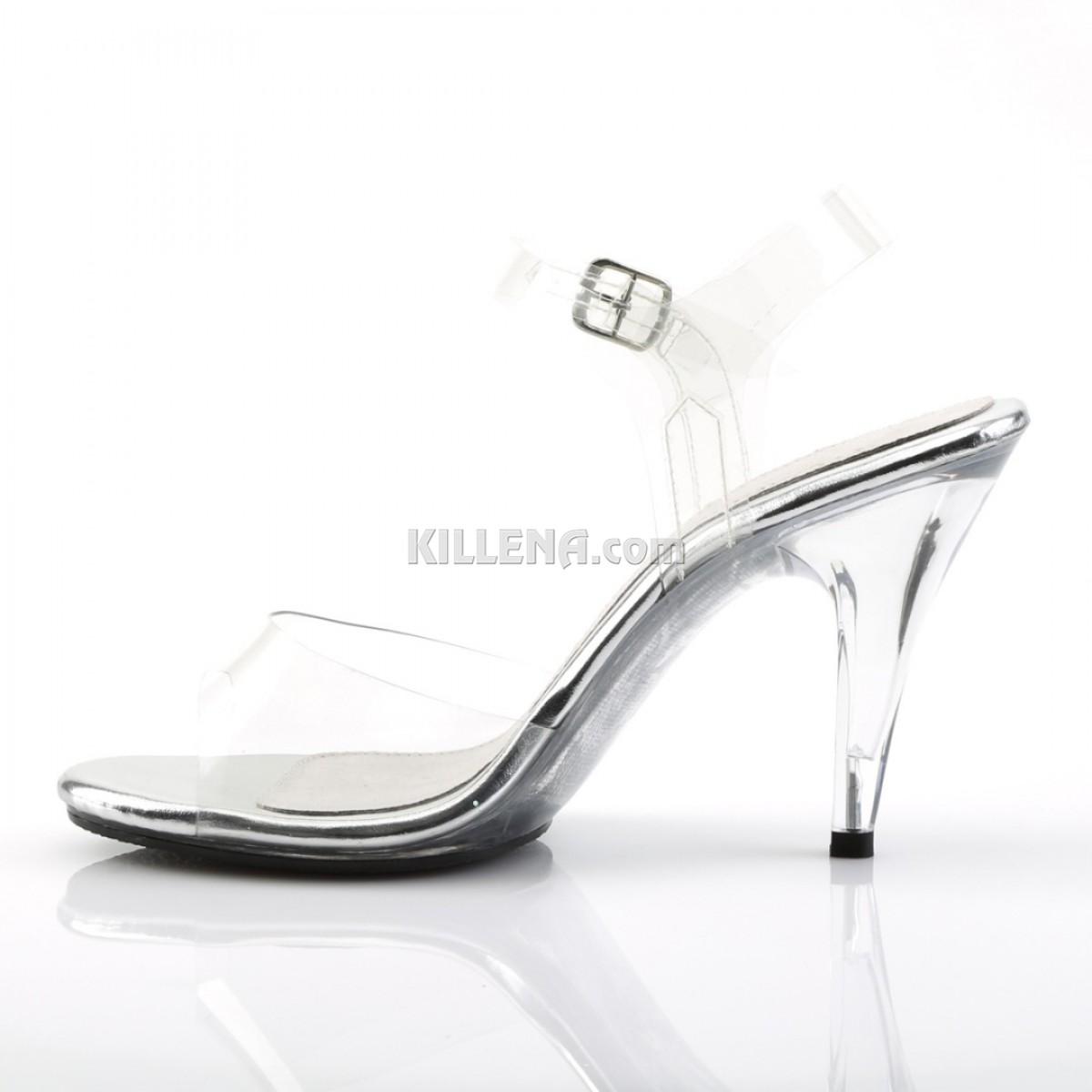 Прозрачные босоножки на низком каблуке с силиконовым верхом