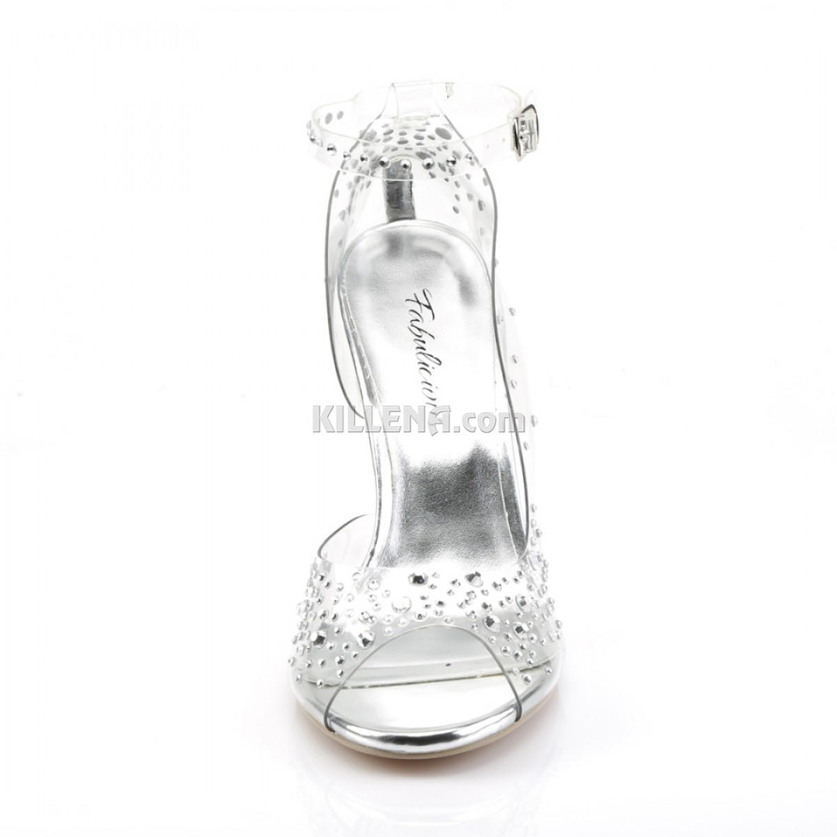 Туфли с широким каблуком и открытым носиком украшены стразами