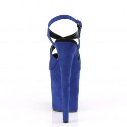 Синие замшевые босоножки с переплетами