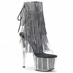 Практичные ботиночки с имитацией камней в платформе и декоративной бахромой