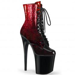 Лаковые ботинки с красно-черным омбре