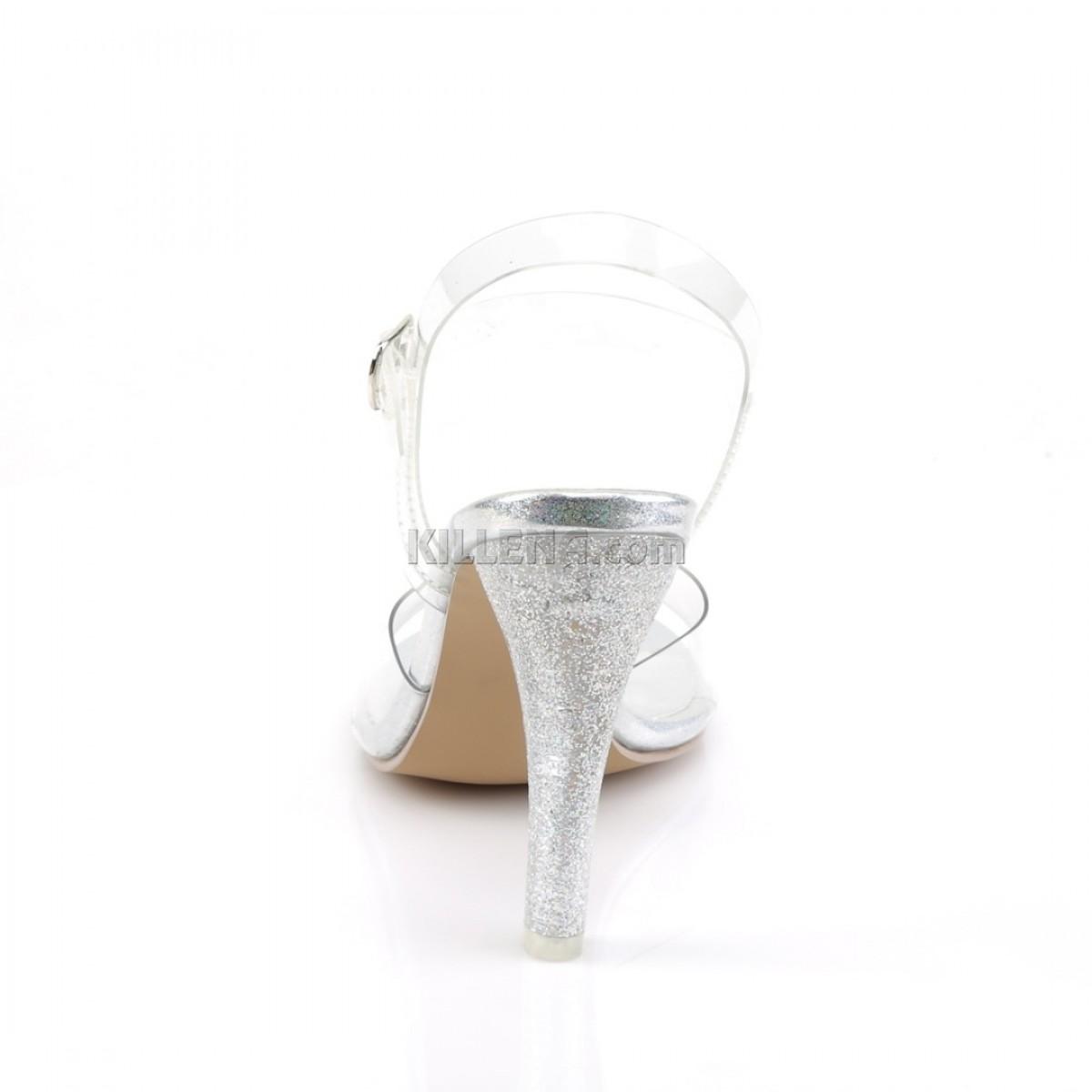 Босоножки для бодифитнес с широким каблуком покрыты блестками