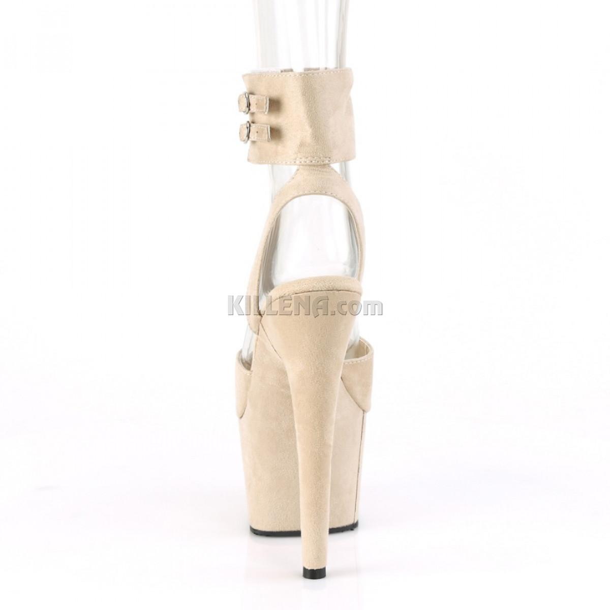 Замшевые бежевые босоножки с открытой пяткой и широким ремешком