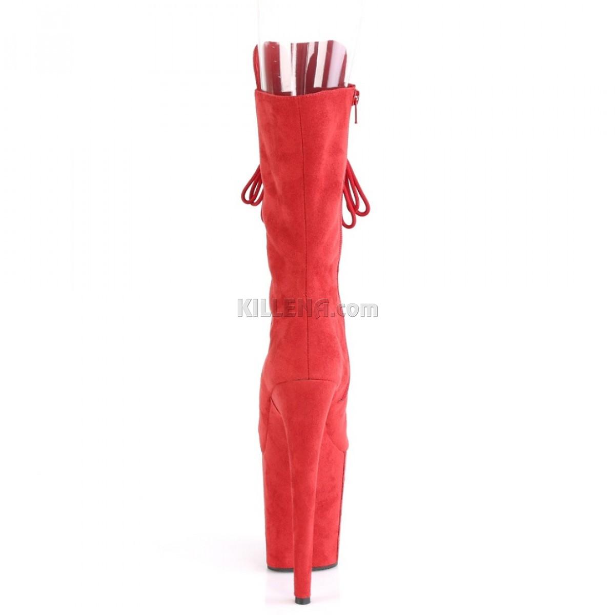 Высокие красные ботиночки с открытым носком