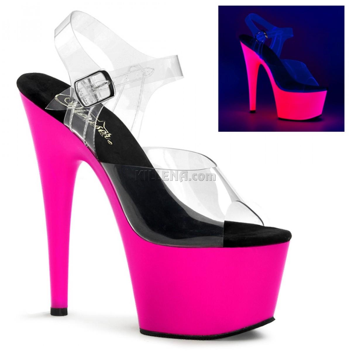 Светящиеся ярко-розовые в ультрафиолете босоножки Pleaser