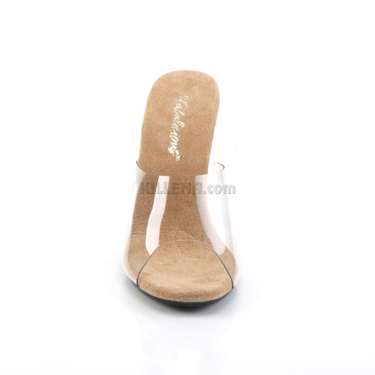 Шлепанцы на низком каблуке с силиконовым верхом и бежевой стелькой