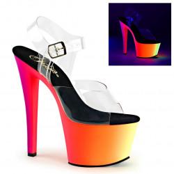 Разноцветные босоножки с силиконовым верхом и неоновой платформой