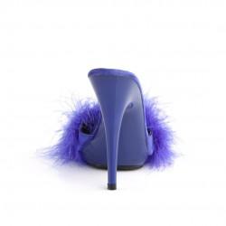 Будуарные шлепанцы на шпильке с синими перьями