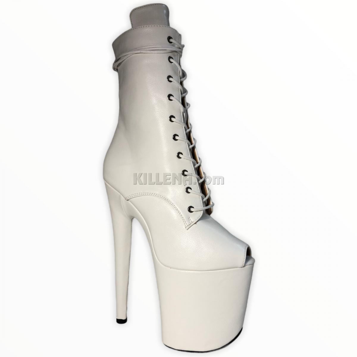 Белые тройки ботиночки для стрипа  с открытым носиком