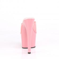 Стрип-шлепанцы с цветным силиконовым верхом розового цвета