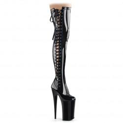 Лаковые чёрные ботфорты Beyond с боковой шнуровкой