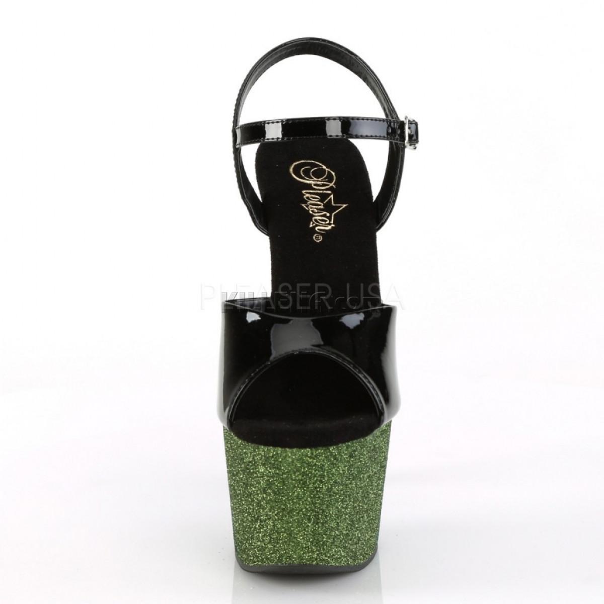 Стрип-босоножки двойки с омбре из зеленых блёсток