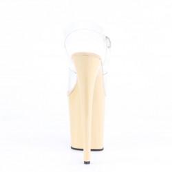 Стрип босоножки бежевого цвета с силиконовым верхом