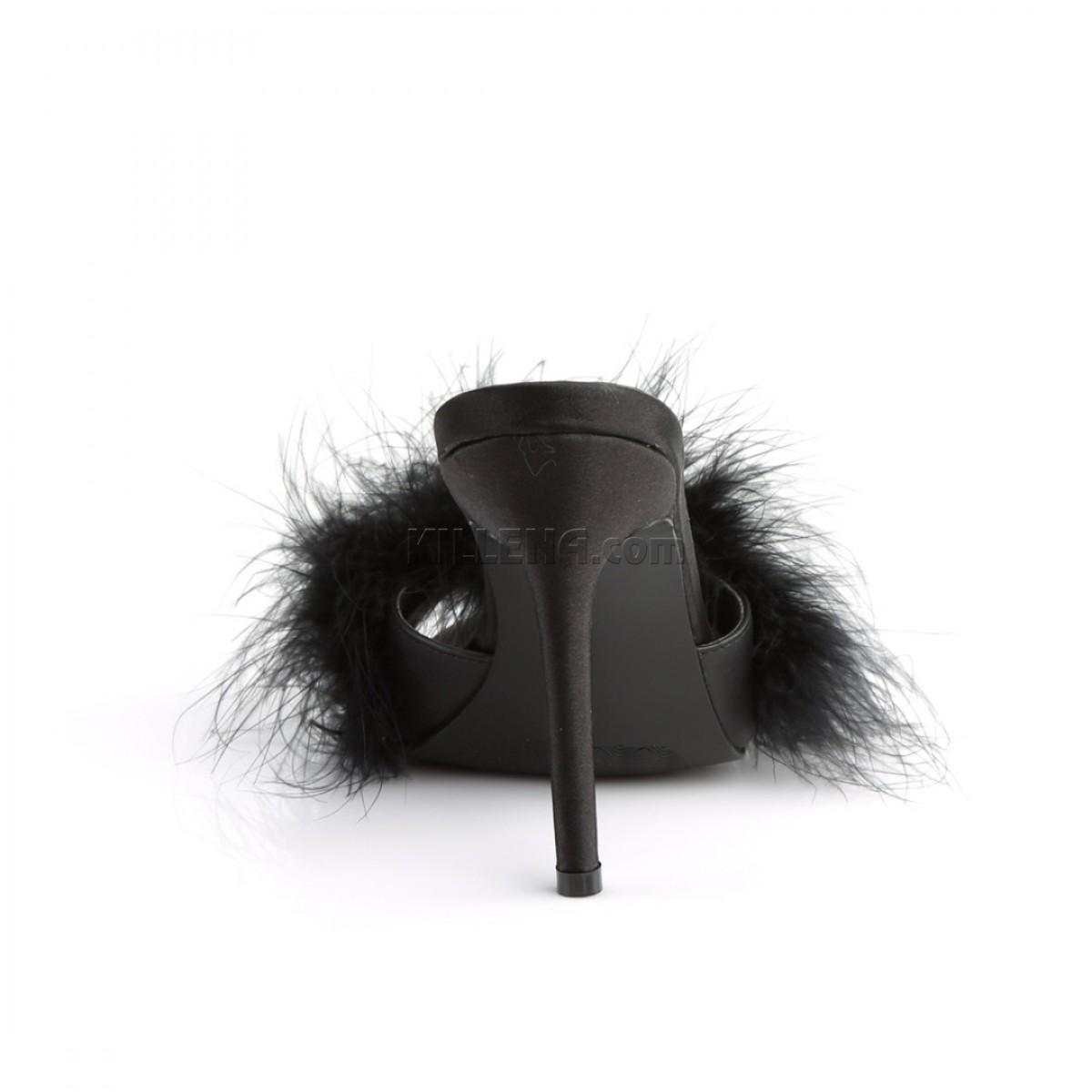 Сексуальные тапочки верх украшен чёрным марабу