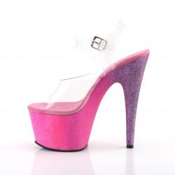 Стрипы с платформой омбре покрытой блёстками розово-сиреневого цвета