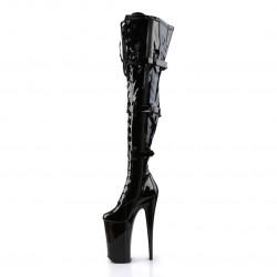 Чёрные лакированные ботфорты Beyond с передней шнуровкой и тремя ремнями