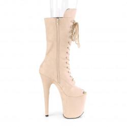 Высокие бежевые ботиночки c открытым носком