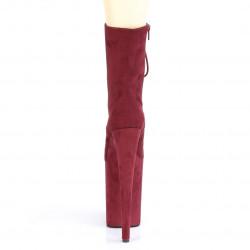 Винные замшевые ботинки-четвёрки Pleaser