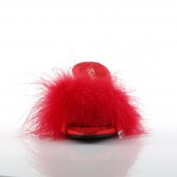 Красные тапочки на маленьком каблуке