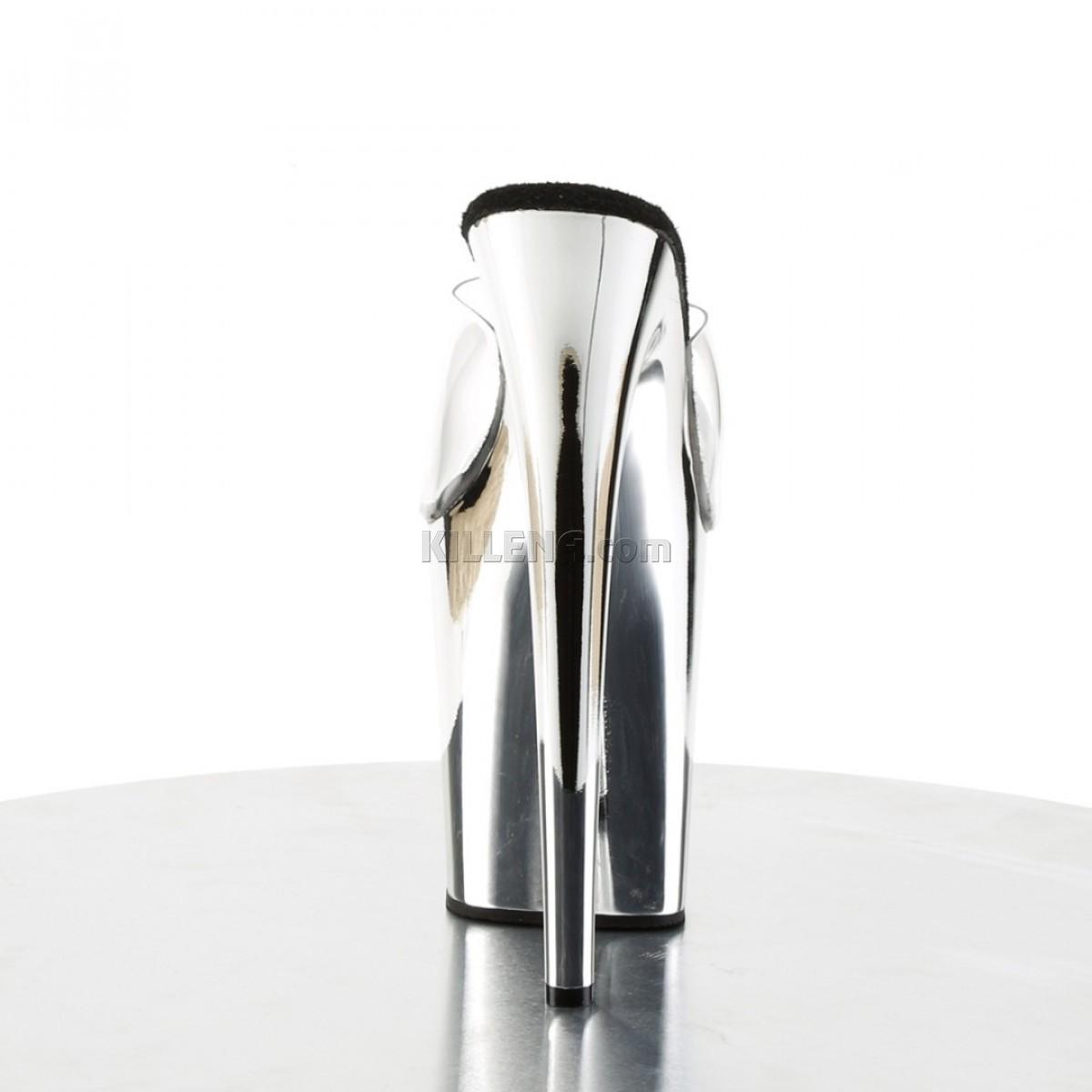 Сабо с серебристой зеркальной платформой