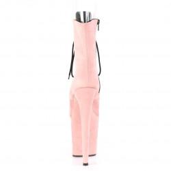 Нежно-розовые замшевые ботинки с открытым носком