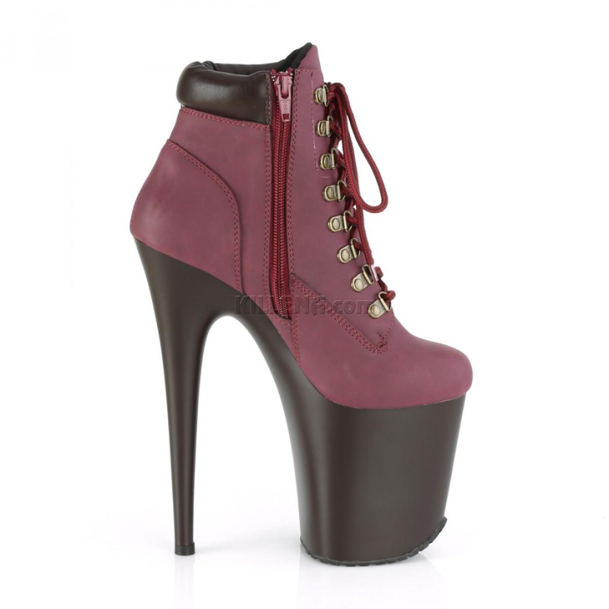 Бордовые ботинки с матовой платформой на шнуровке