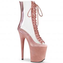 Прозрачные силиконовые ботинки с платформой обтянутой розовой замшей