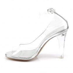 Силиконовые туфли с широким каблуком и открытым носиком