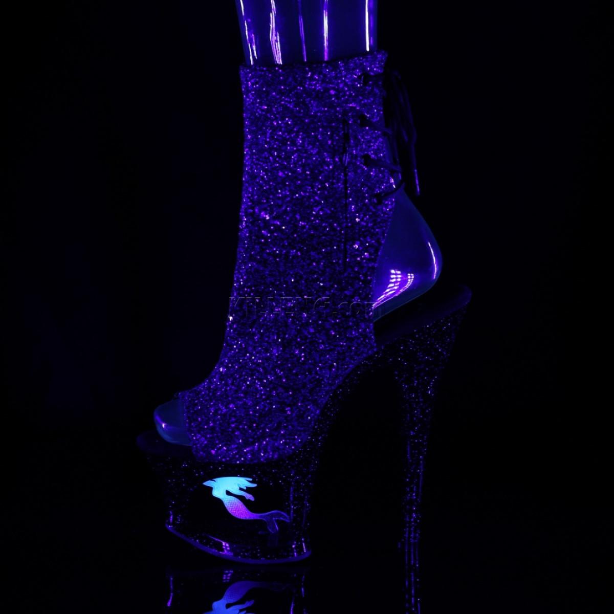 Открытые ботиночки в глиттере с отверстием и декором в виде русалки