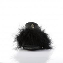 Чёрные тапочки на маленьком каблуке