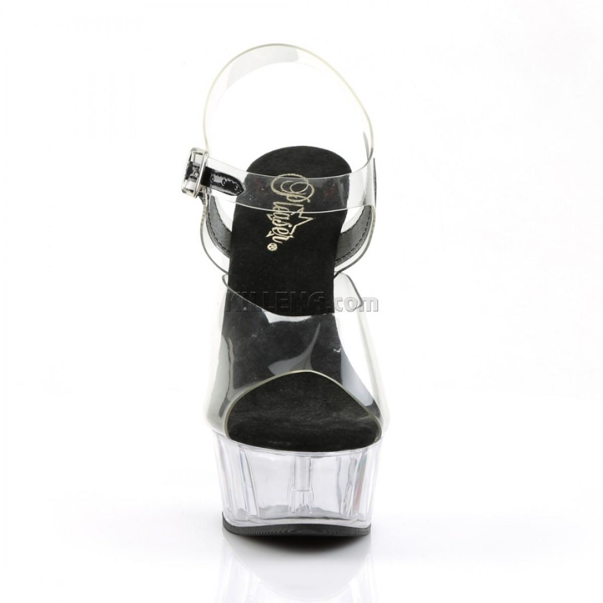 Прозрачные босоножки с силиконовым верхом и чёрной стелькой