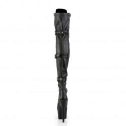 Матовые ботфорты-двойки с тремя застежками и шнуровкой спереди
