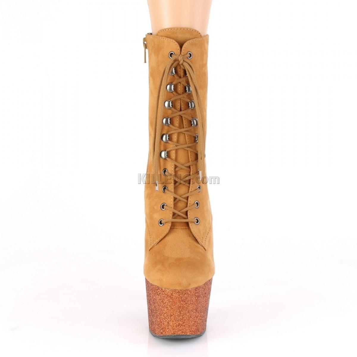 Закрытые ботиночки для pole dance, платформа покрыта блестками