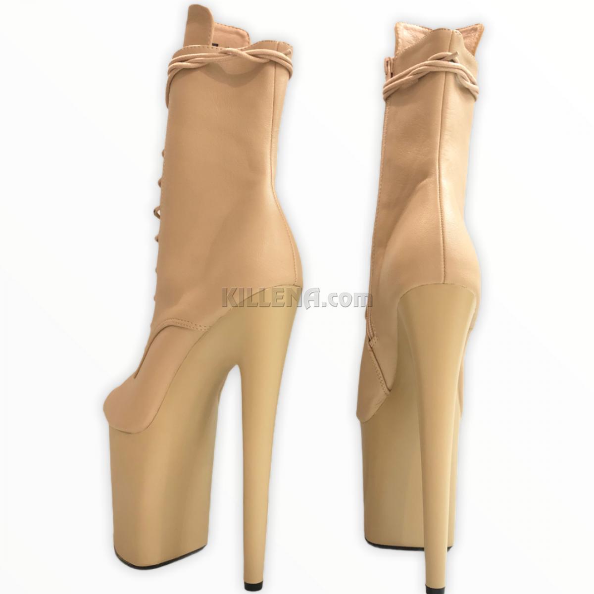 Бежевые тройки ботиночки для стрипа с открытым носиком
