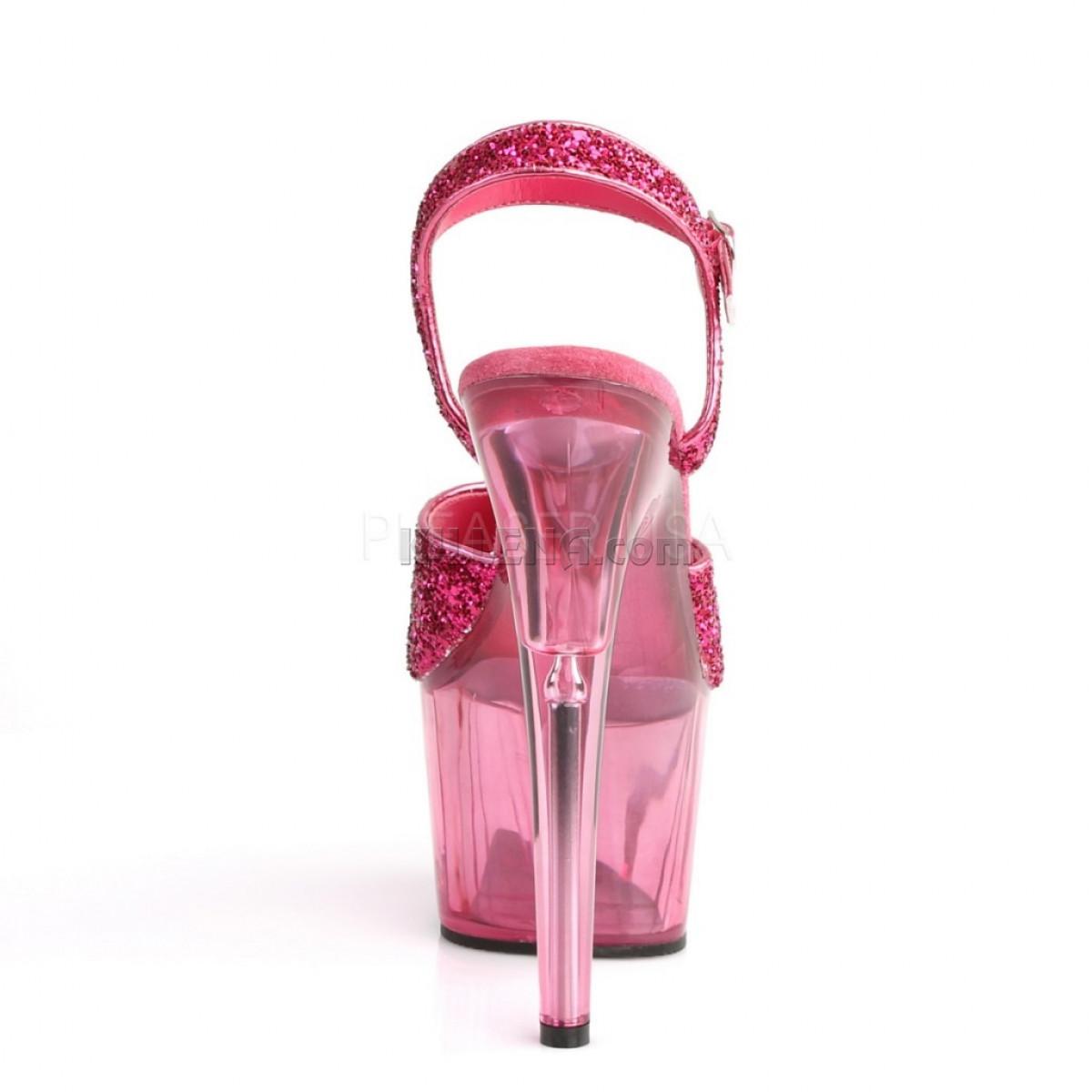 Ярко-розовые босоножки с тонированной платформой,верх в блёстках