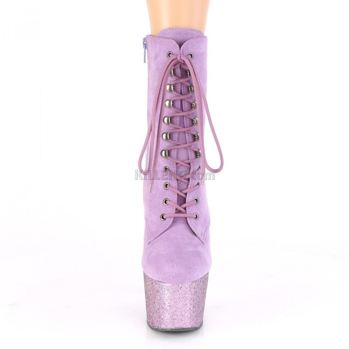 Ботиночки для pole dance, платформа покрыта сиреневыми блестками