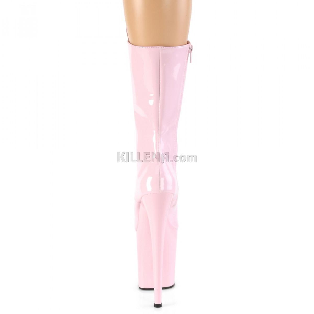 Высокие лакированные нежно-розовые ботинки тройки