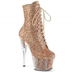 Блестящие ботинки с практичной платформой, верх в бронзовых блестках