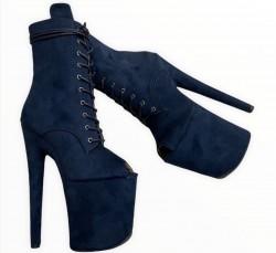 Темно-синие ботинки из эко замши  с узким вырезом под пальцы