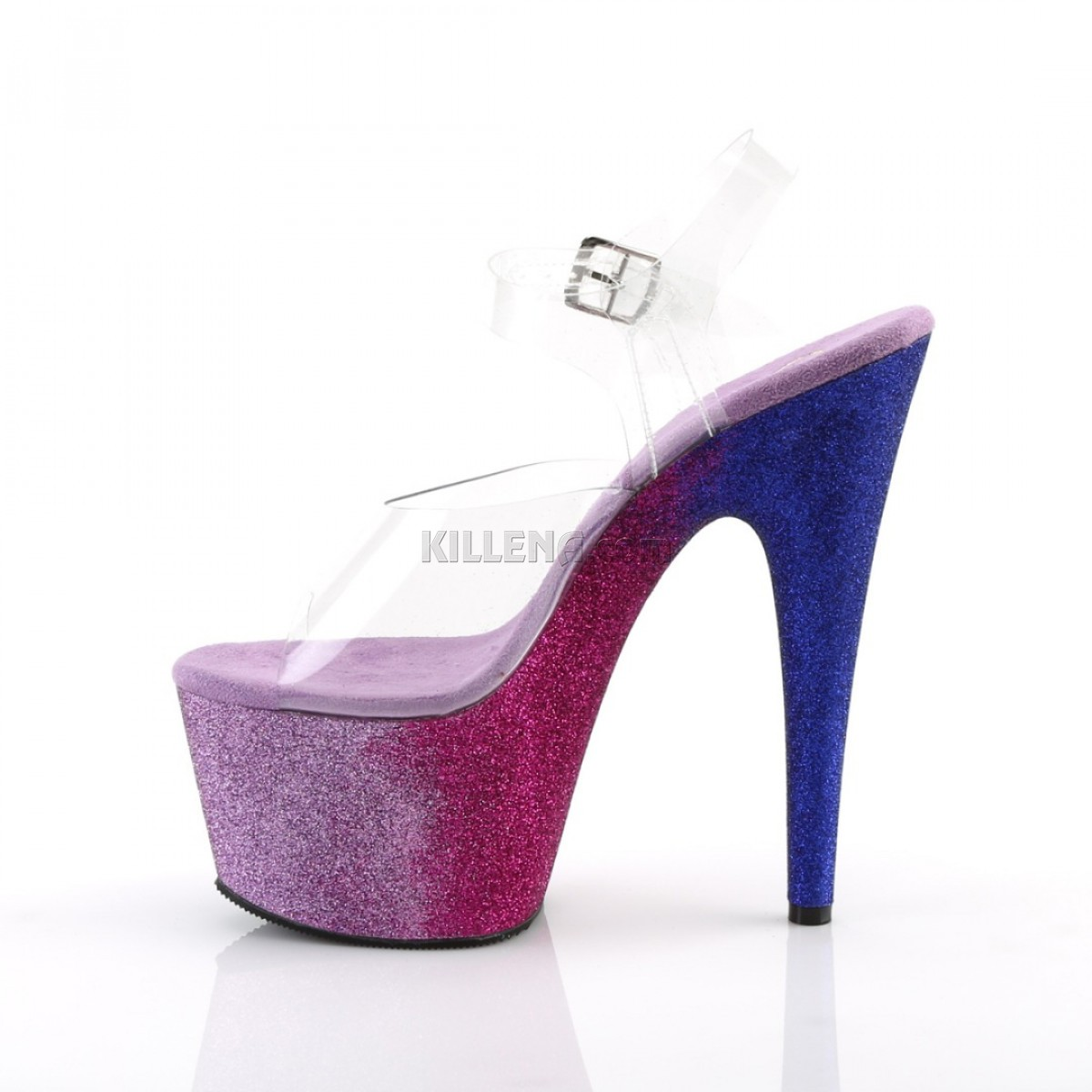 Стрипы с платформой омбре покрытой блёстками сине-фиолетового цвета