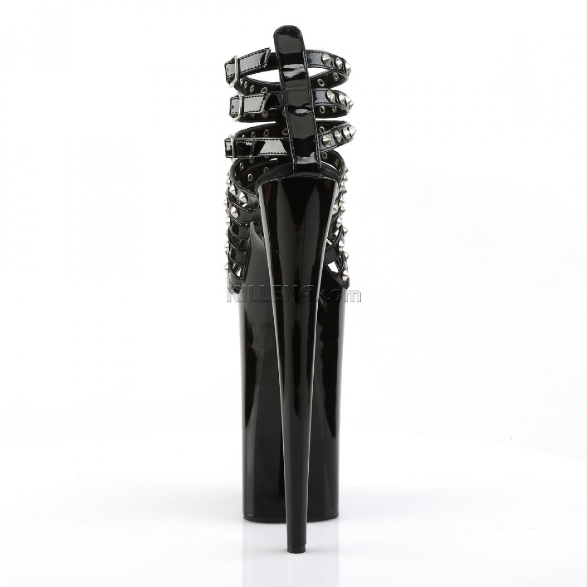 Лаковые чёрные босоножки Beyond с шипами на ремешках
