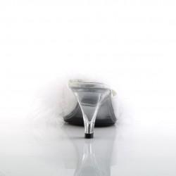 Белые тапочки на маленьком каблуке