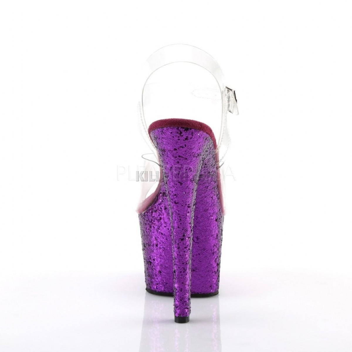 Стрипы двойки, платформа покрыта фиолетовыми блестками