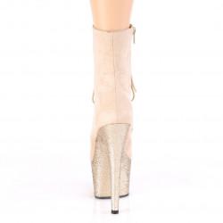 Закрытые ботиночки для pole dance, платформа покрыта бежевыми блестками