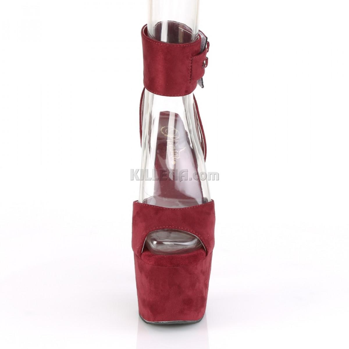 Замшевые бордовые босоножки с открытой пяткой и широким ремешком