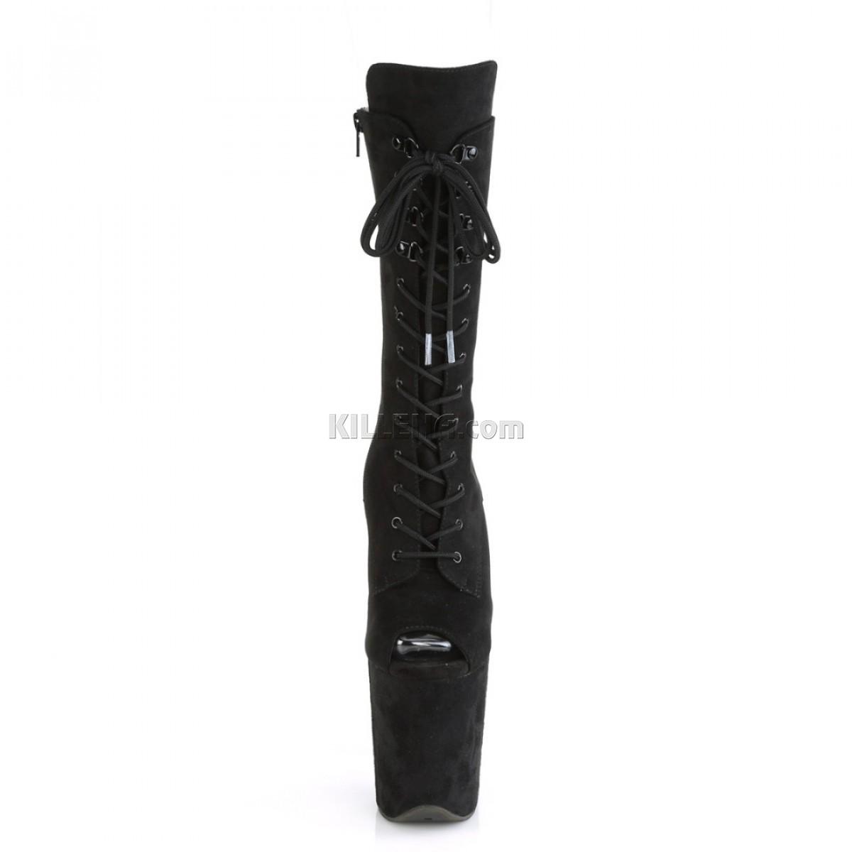 Высокие чёрные ботиночки с открытым носком