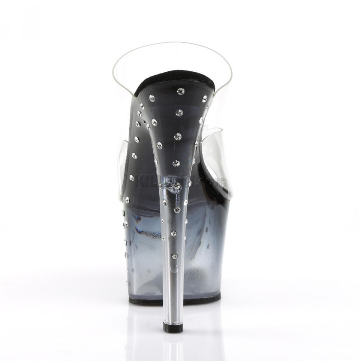 Тонированные шлепанцы с двойными ремешками украшены конусными камнями