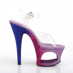 Стрипы с вырезом в платформе покрыты фиолетово-сиреневым омбре глиттером