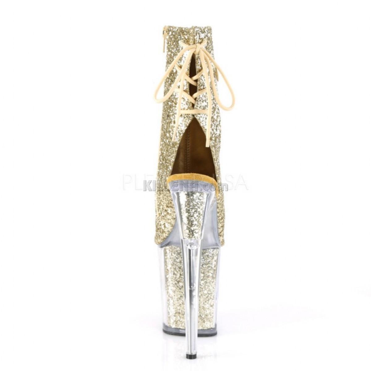 Открытые ботинки покрыты золотыми блестками