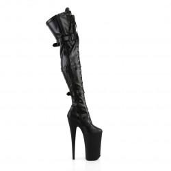 Матовые чёрные ботфорты Beyond с передней шнуровкой и тремя ремнями